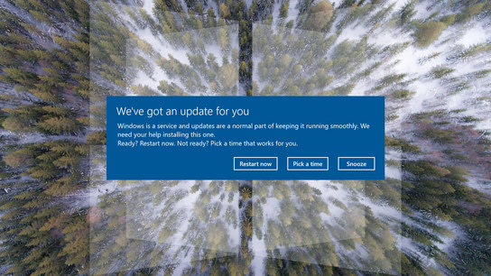 "A Windows 10 dialog saying ""We've got an update for you. Windows is a service and updates are a normal part of keeping it running smoothly. We need your help installing this one. Reall? Restart now."""