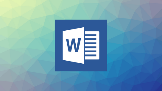 The Microsoft Word 2016 icon against an abstract background.