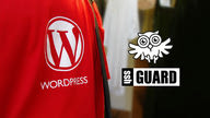 The WordPress logo side-by-side with the SSHGuard logo.