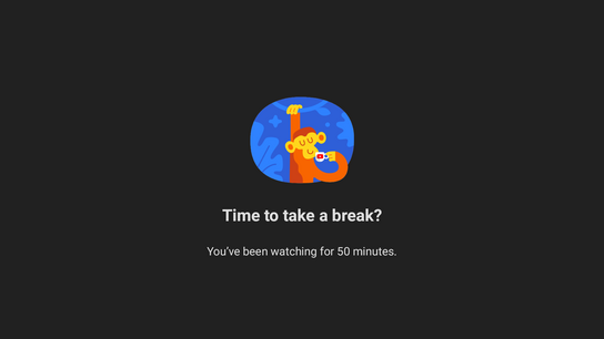 "Screenshot of a ""time to take a break"" reminder from the YouTube app. Features a tired monkey stretching and drinking from a cup."