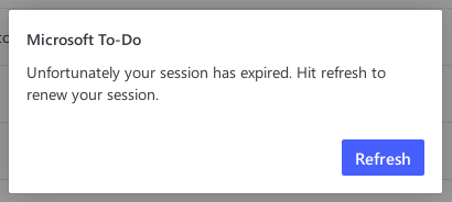 Expired session in Microsoft To-Do